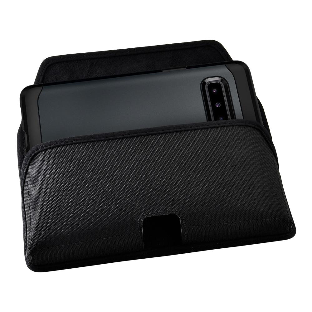 Samsung Galaxy S10 5G (2019) Belt Holster Black Nylon Pouch with Heavy Duty Rotating Belt Clip, Horizontal