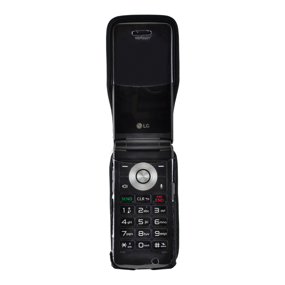 LG Exalt LTE VN220 4G Heavy Duty Black Nylon Case with Rotating, Removable Metal Belt Clip