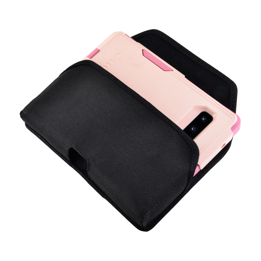 Galaxy S10+ Plus Fits with OTTERBOX COMMUTER Black Nylon Holster Pouch Rotating Belt Clip Horizontal