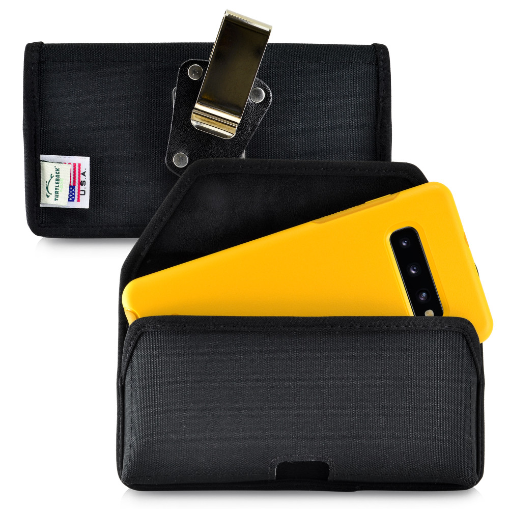 Galaxy S10+ Plus Fits with OTTERBOX SYMMETRY Black Nylon Holster Pouch Rotating Belt Clip Horizontal