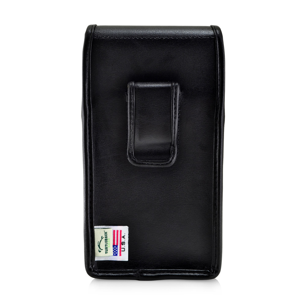 Galaxy S10+ Plus Fits with OTTERBOX SYMMETRY Vertical Belt Case Black Leather Pouch Executive Belt Clip