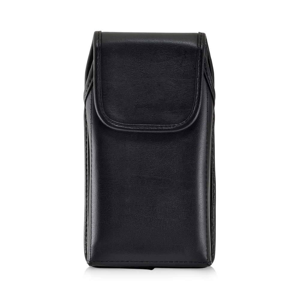 Galaxy S10+ Plus Fits with OTTERBOX DEFENDER Vertical Holster Black Leather Pouch Rotating Belt Clip