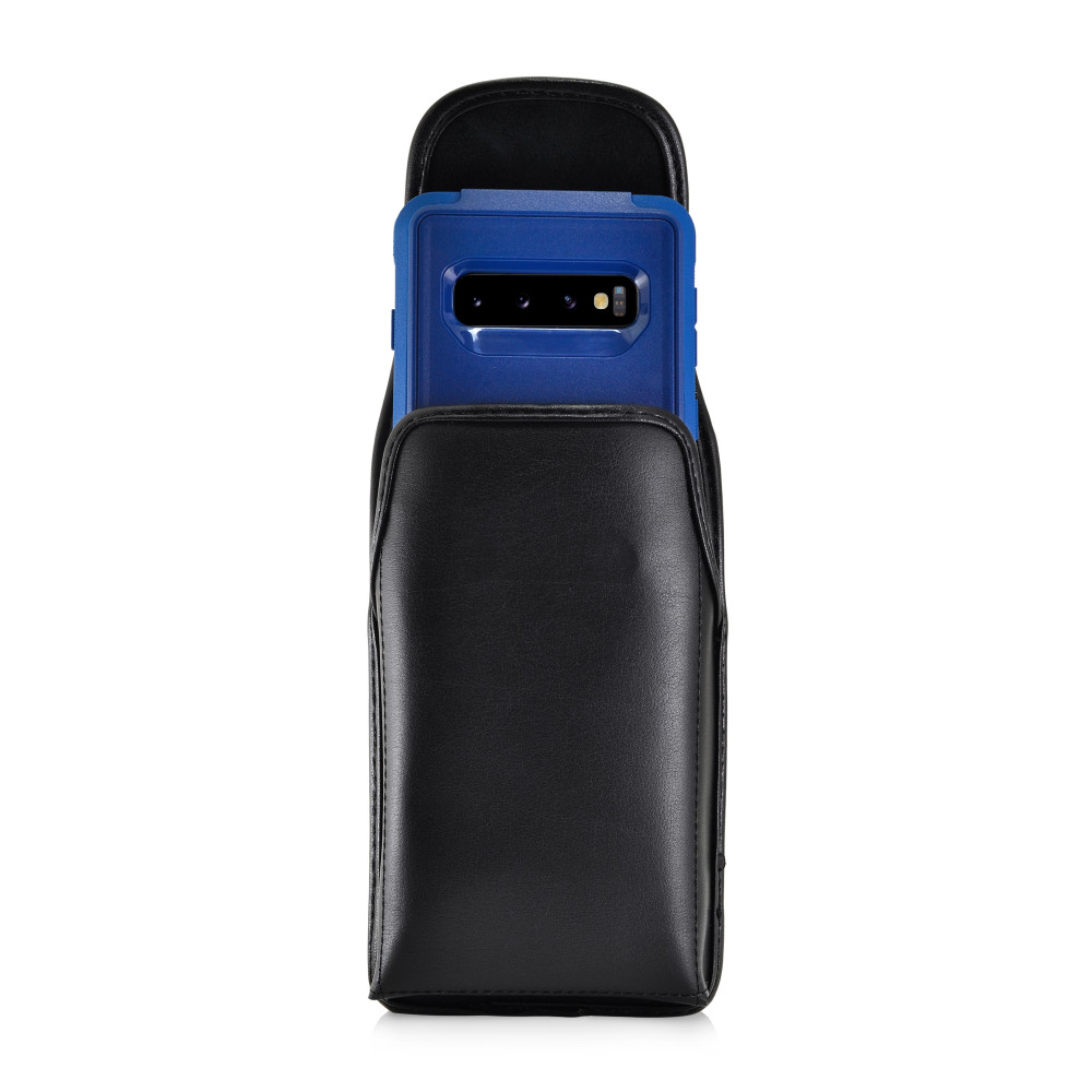 Galaxy S10 Fits with OTTERBOX COMMUTER Vertical Belt Case Black Leather Pouch Executive Belt Clip