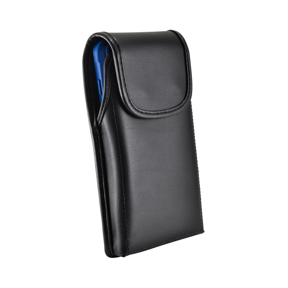 Galaxy S10 Fits with OTTERBOX COMMUTER Vertical Holster Black Leather Pouch Rotating Belt Clip