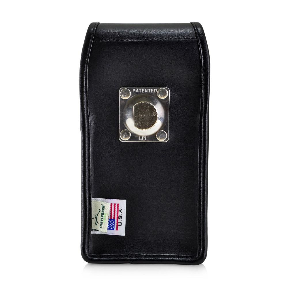 Galaxy S10 Fits with OTTERBOX SYMMETRY Vertical Holster Black Leather Pouch Rotating Belt Clip