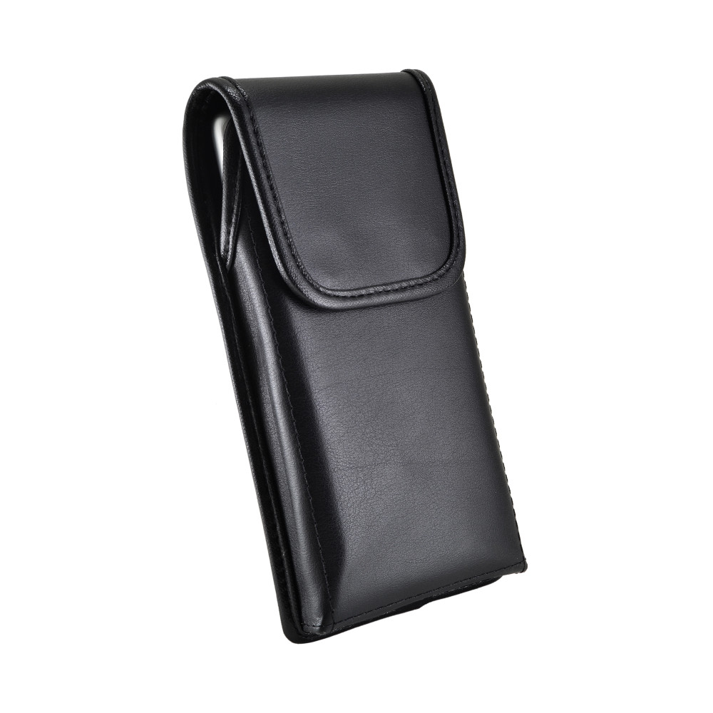 Samsung Galaxy Note 10 (2019) Vertical Holster Black Leather Pouch with Heavy Duty Rotating Belt Clip