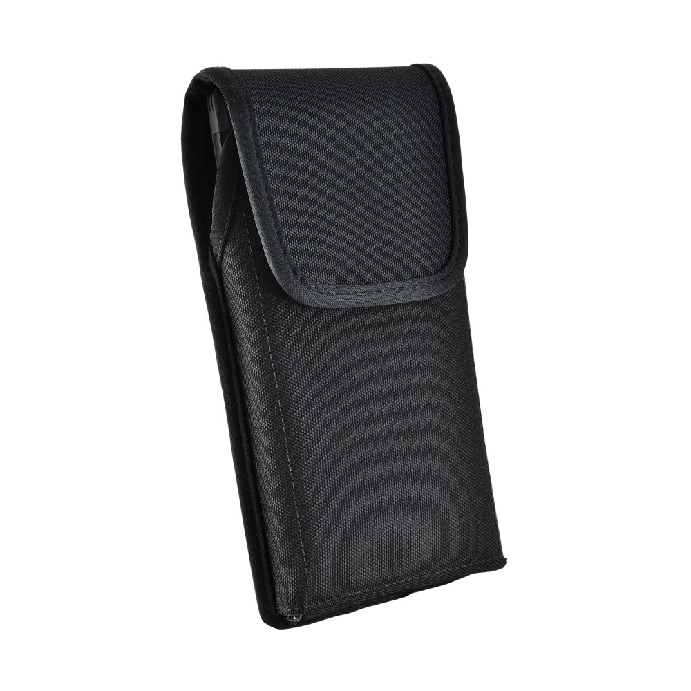 Samsung Galaxy Note 10+ Plus Vertical Holster Black Nylon Pouch with Heavy Duty Rotating Belt Clip