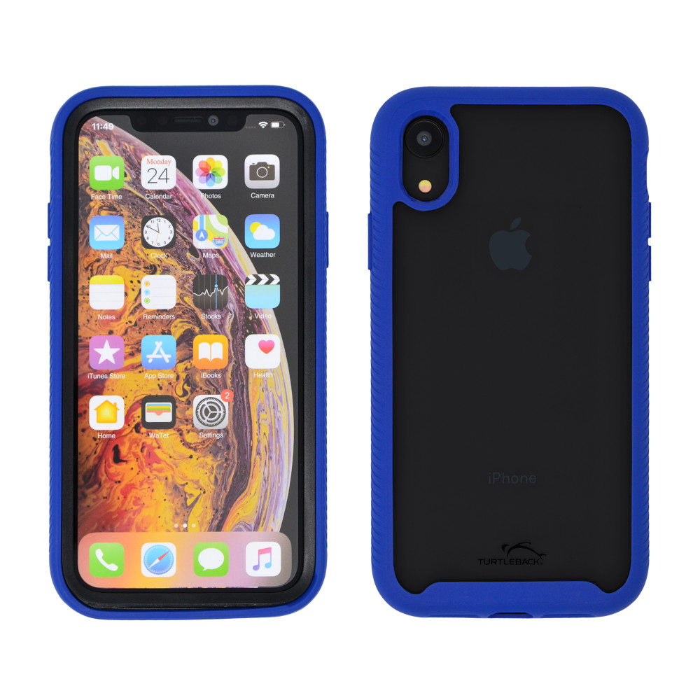 Tough Defense Drop Tested Case for Apple iPhone XR 6.1 Inch, Military Grade, Anti-Scratch Ultra Clear Back & Blue Sides