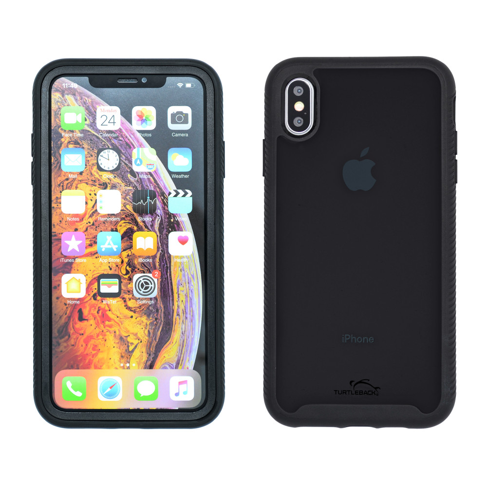 Tough Defense Drop Tested Case for Apple iPhone XS Max 6.5 Inch, Military Grade, Anti-Scratch Ultra Clear Back, Black Sides