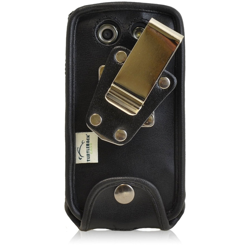 Kyocera Brigadier E6782 Heavy Duty Black Leather Phone Case with Removable Metal Clip