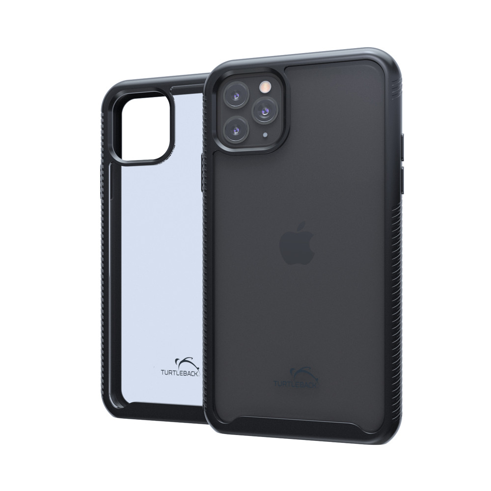 Tough Defense Combo for iPhone 11 Pro Max, Blk/Clr Drop Test Case + Horizontal Pouch, Metal Clip