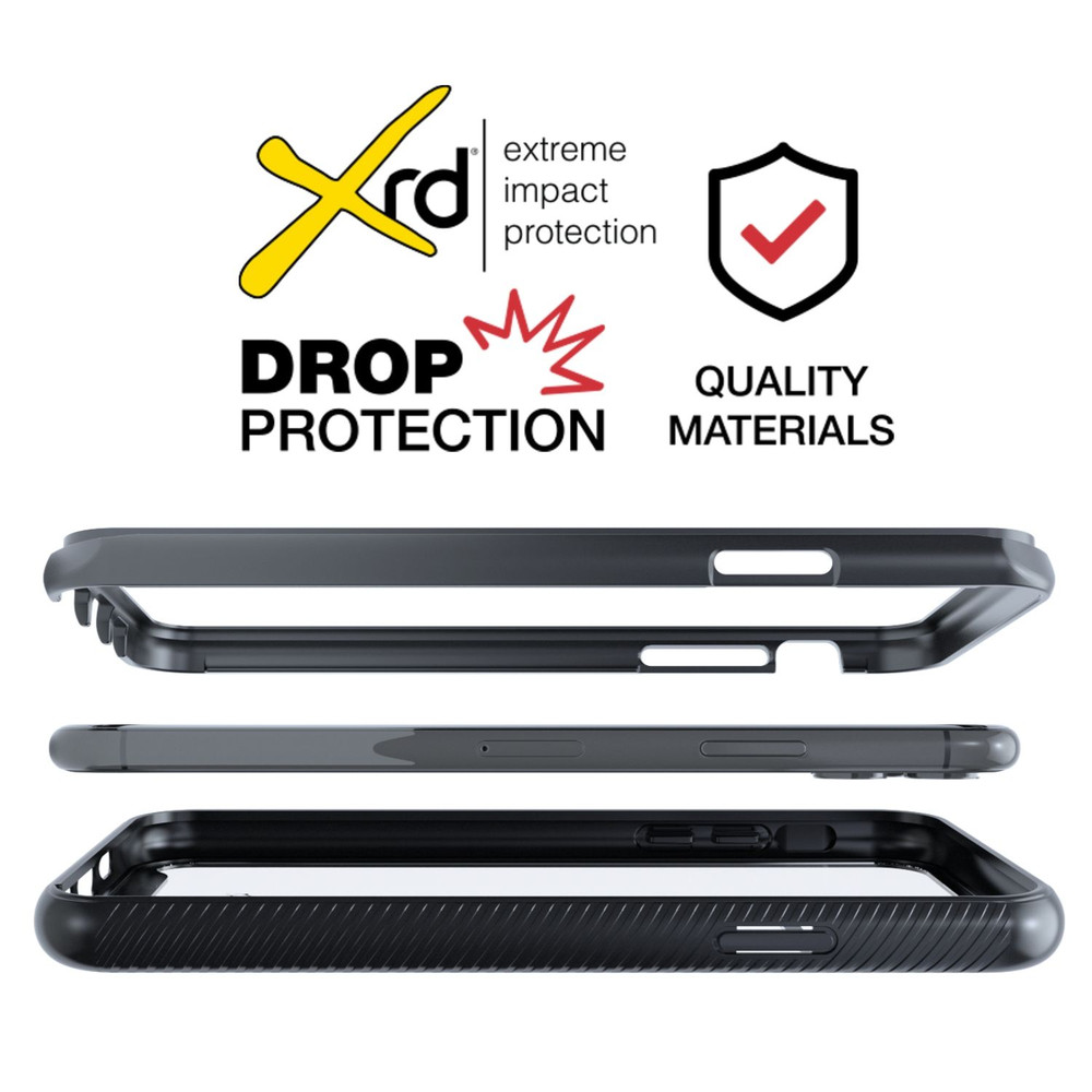 Tough Defense Combo for iPhone 11 Pro Max, Blk/Clr Drop Test Case + Hoz Nylon Pouch, Metal Clip
