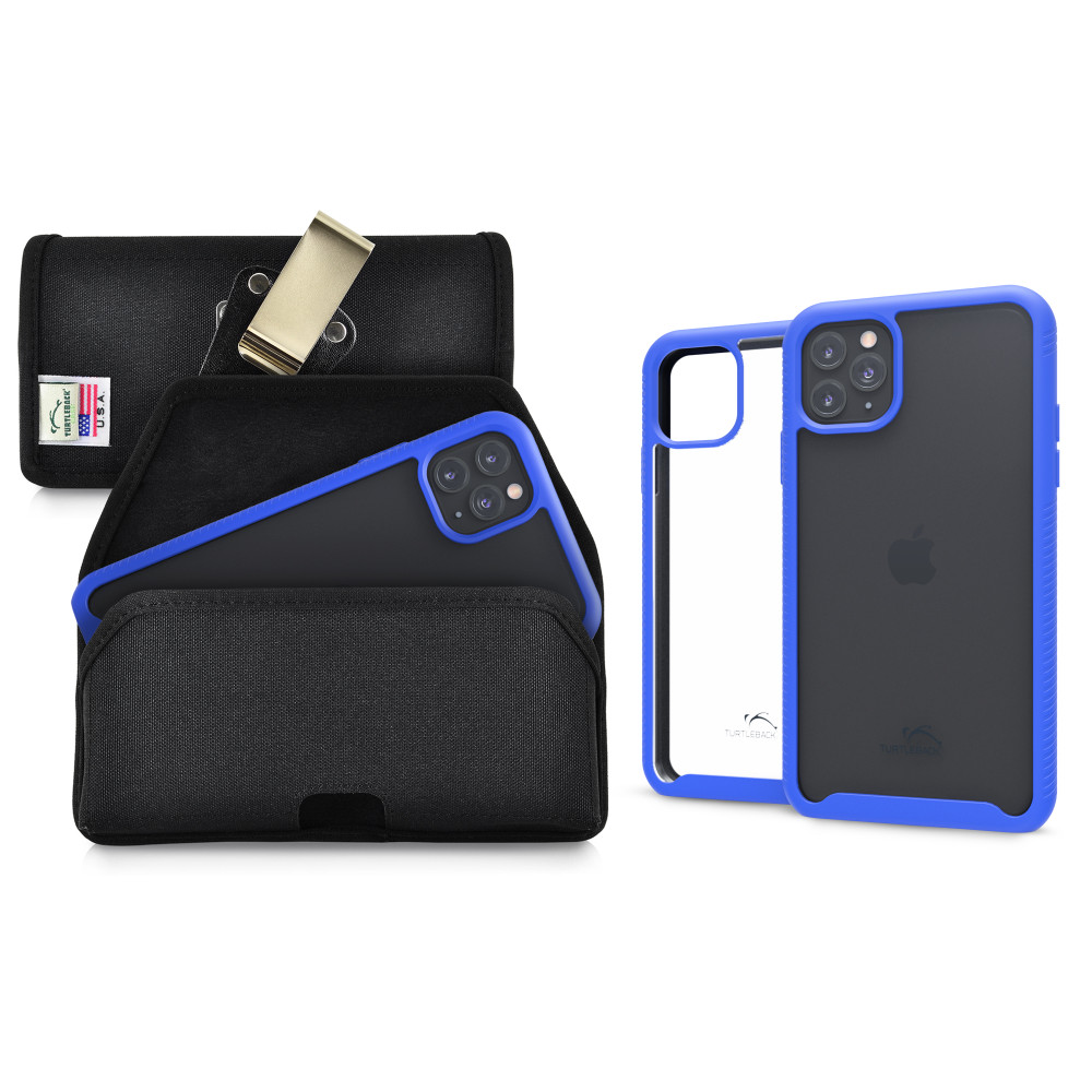 Tough Defense Combo for iPhone 11 Pro Max, Blu/Clr Drop Test Case + Hoz Nylon Pouch, Metal Clip