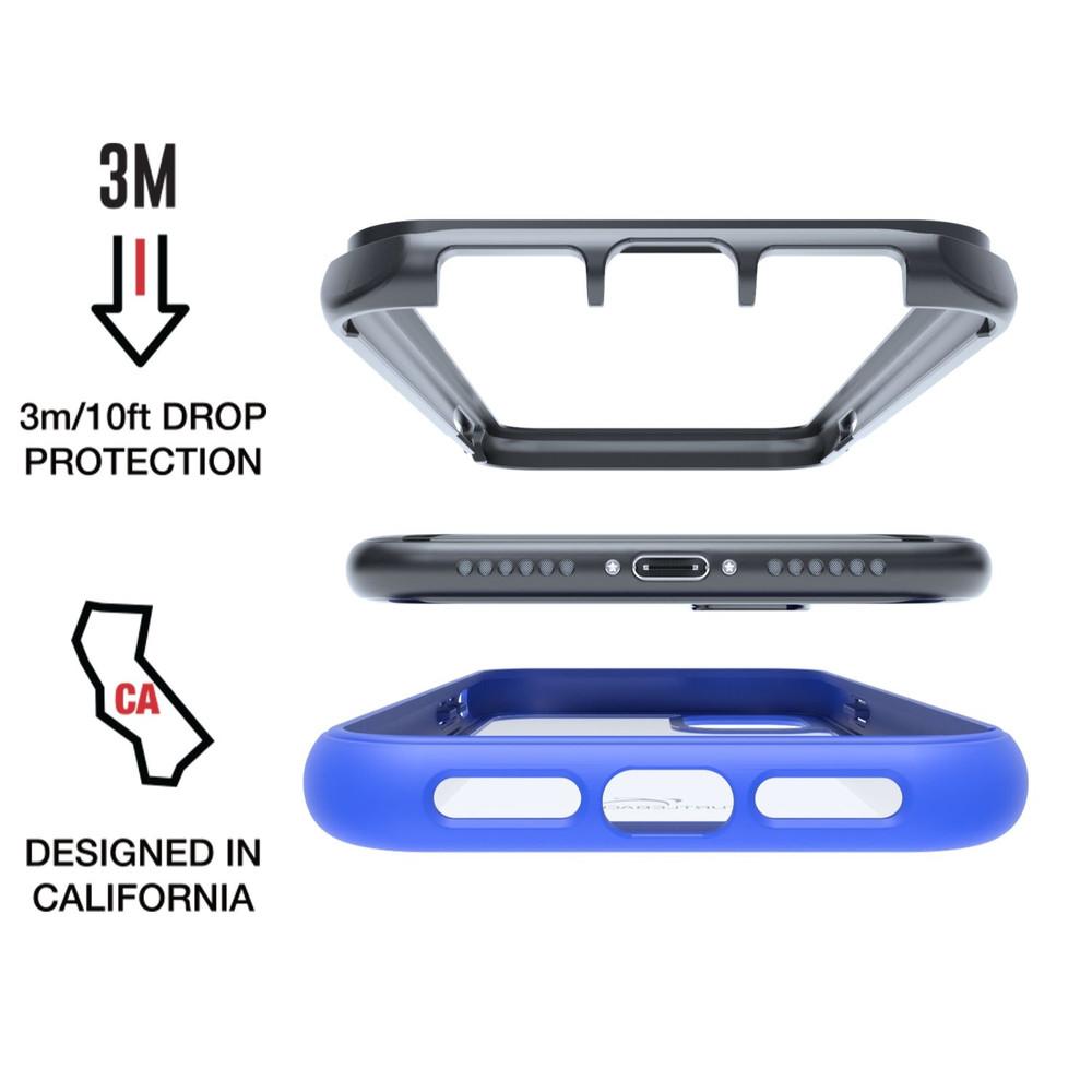 Tough Defense Combo for iPhone 11, Blue/Clear Drop Test Case + Horizontal Pouch, Metal Clip