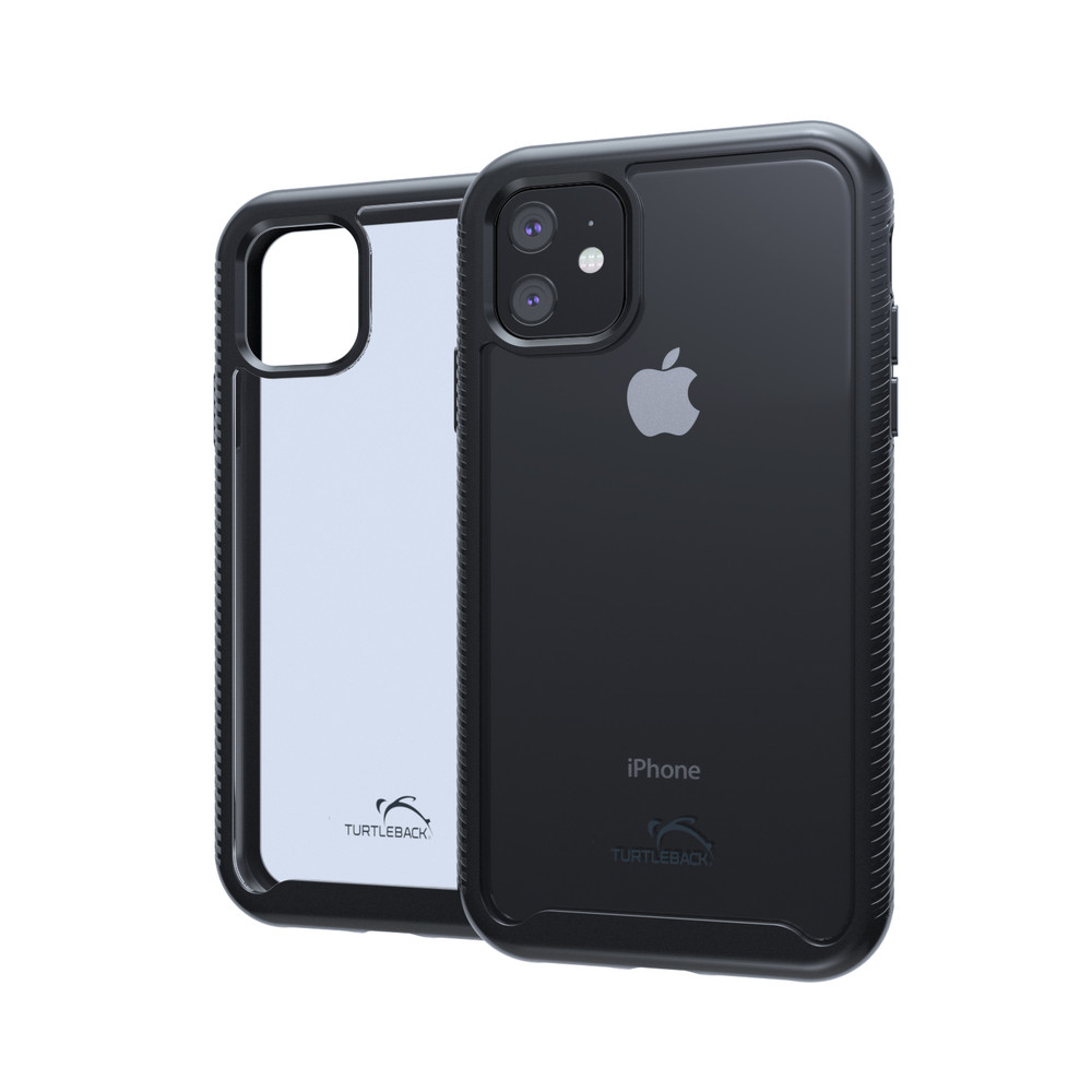 Tough Defense Combo for iPhone 11, Black/Clear Drop Test Case + Ver Nylon Pouch, Metal Clip