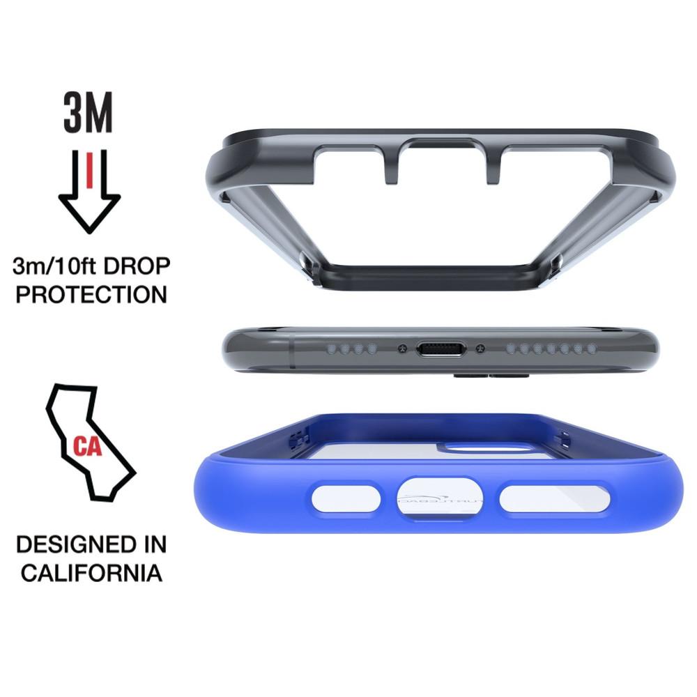 Tough Defense Combo for iPhone 11 Pro, Blu/Clr Drop Test Case + Horizontal Pouch, Metal Clip