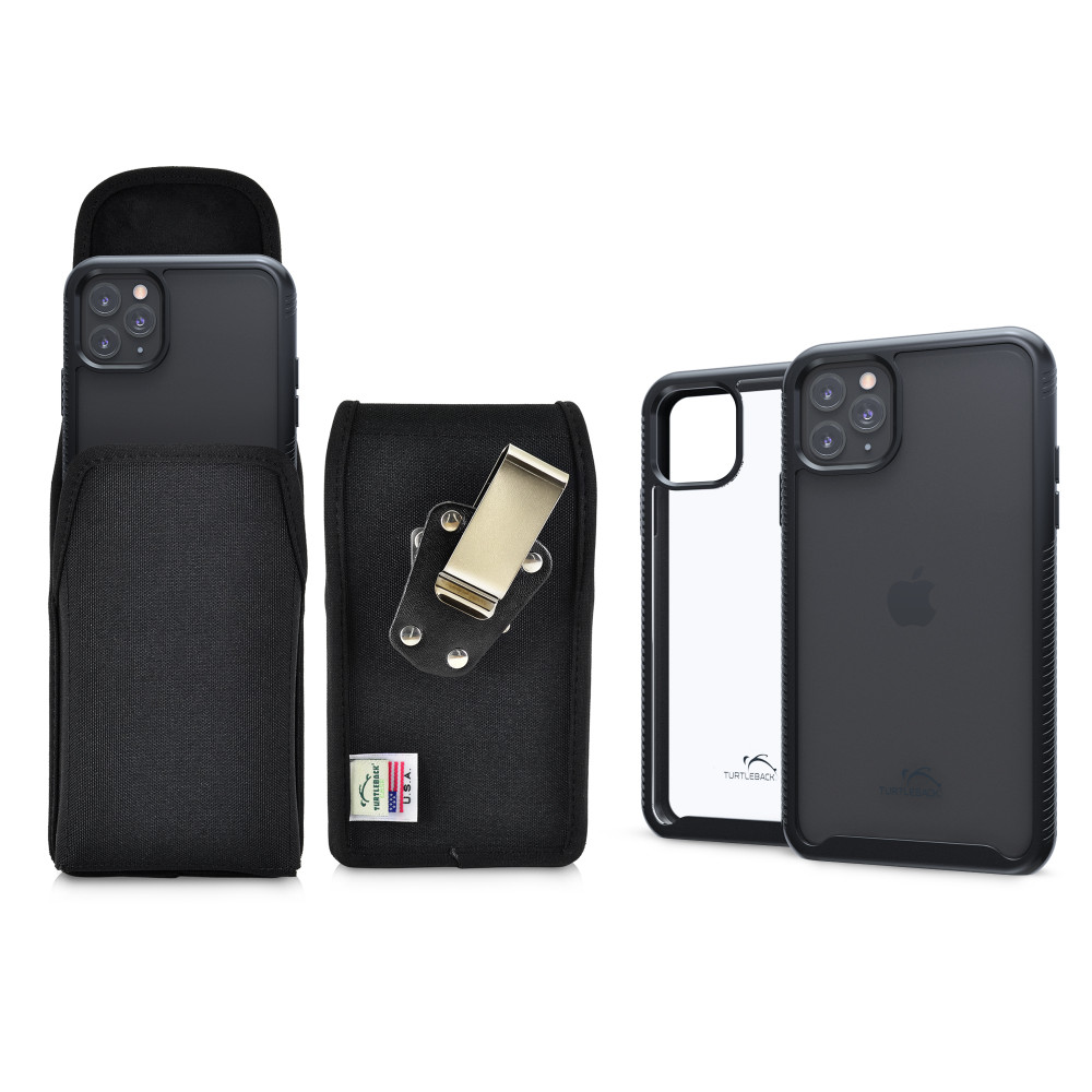 Tough Defense Combo for iPhone 11 Pro, Blk/Clr Drop Test Case + Ver Nylon Pouch, Metal Clip