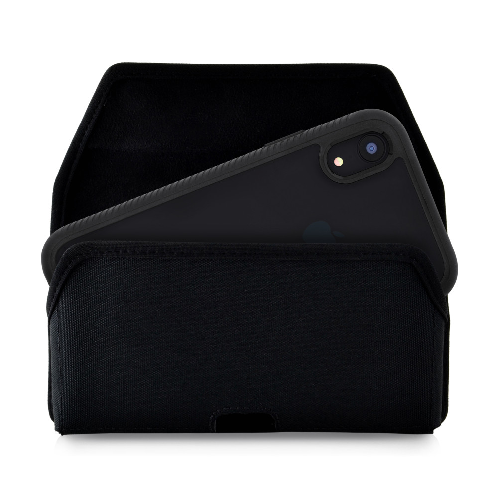 Tough Defense Combo for iPhone XR, Black/Clear Drop Test Case + Hoz Nylon Pouch, Metal Clip