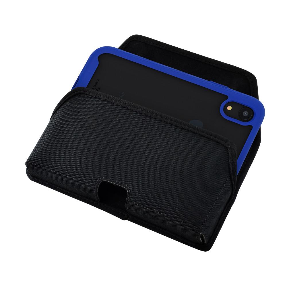 Tough Defense Combo for iPhone XR, Blue/Clear Drop Test Case + Hoz Nylon Pouch, Metal Clip