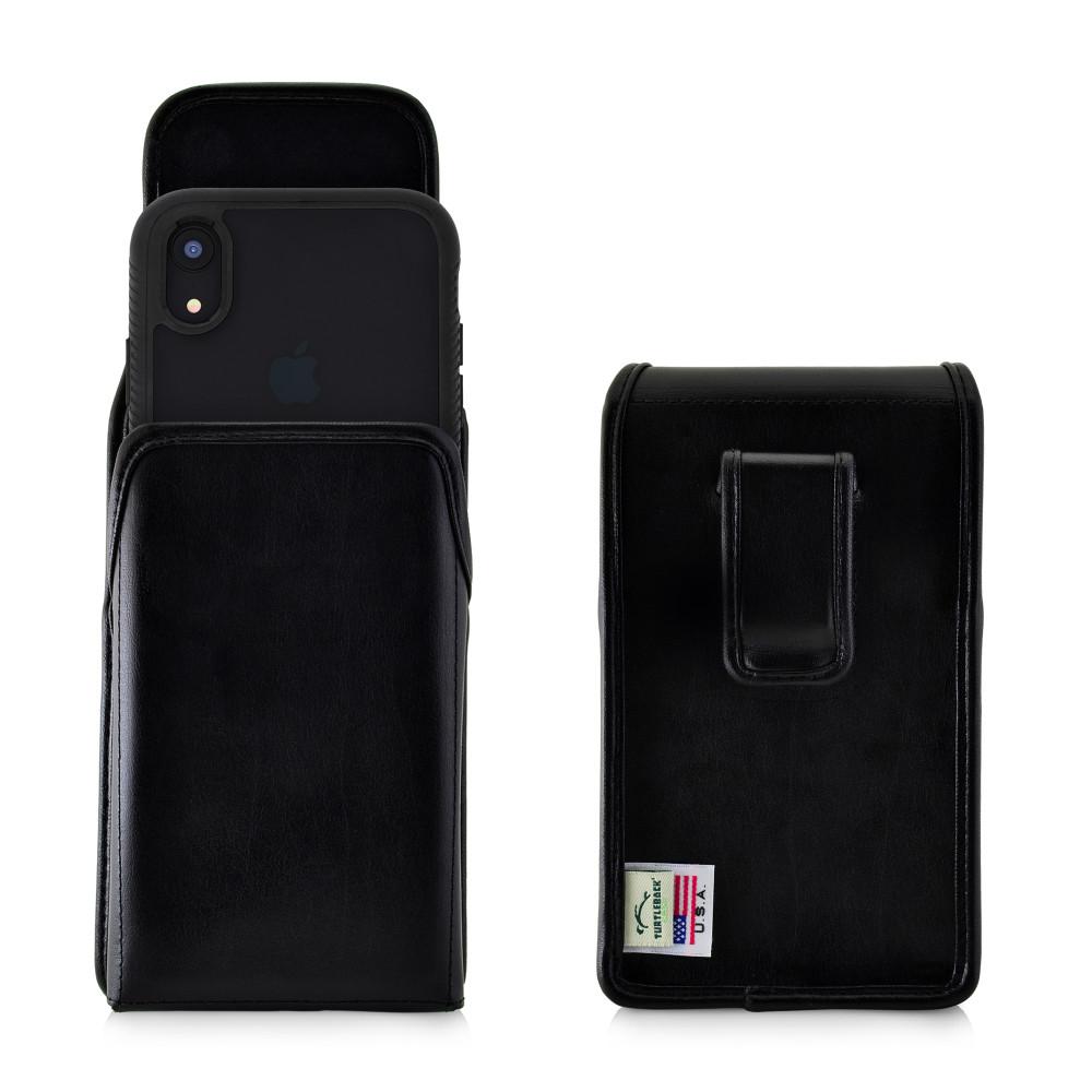 Tough Defense Combo for iPhone XR, Black/Clear Drop Test Case + Vertical Pouch, Leather Clip