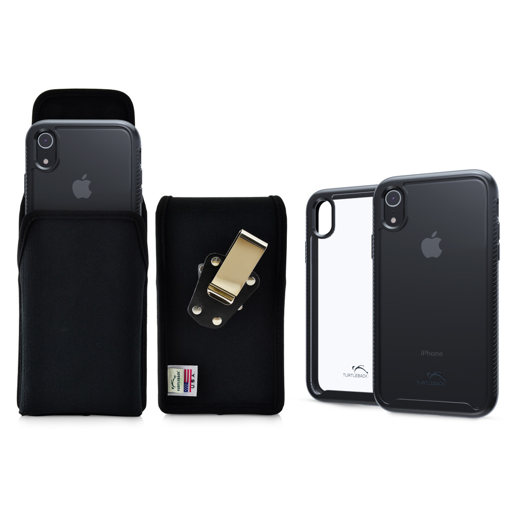 Tough Defense Combo for iPhone XR, Black/Clear Drop Test Case + Ver Nylon Pouch, Metal Clip