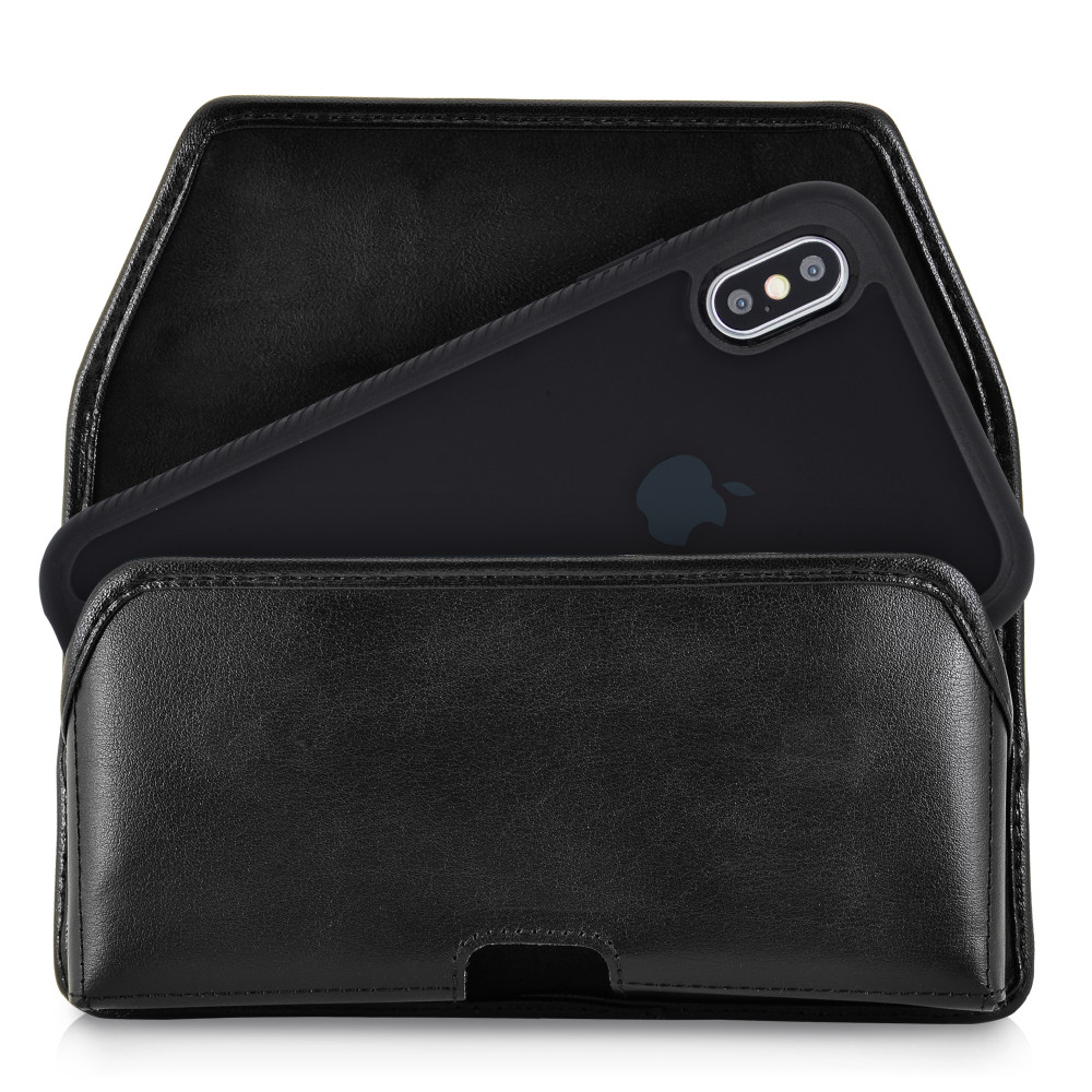 Tough Defense Combo for iPhone XS Max, Blk/Clr Drop Test Case + Horizontal Pouch, Leather Clip