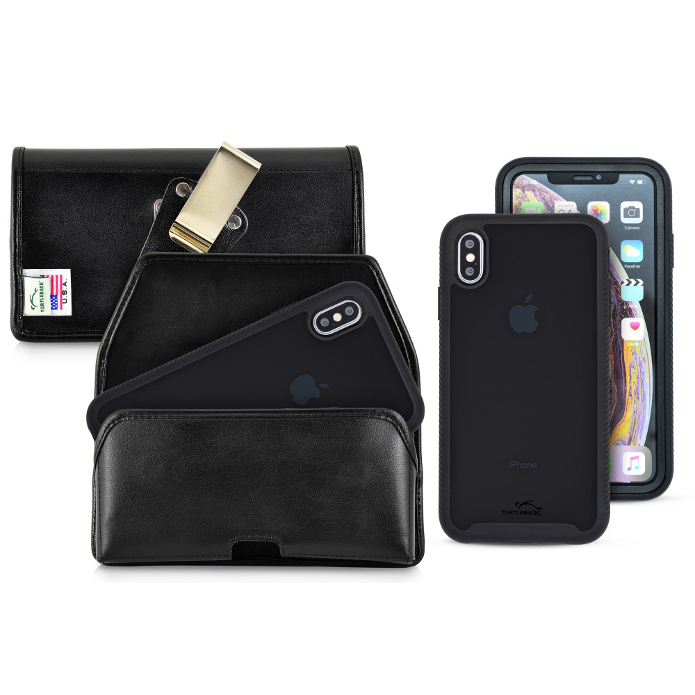 Tough Defense Combo for iPhone XS Max, Blk/Clr Drop Test Case + Horizontal Pouch, Metal Clip