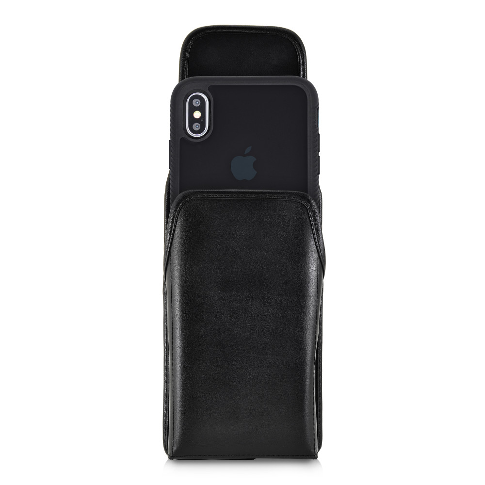 Tough Defense Combo for iPhone XS Max, Blk/Clr Drop Test Case + Vertical Pouch, Metal Clip