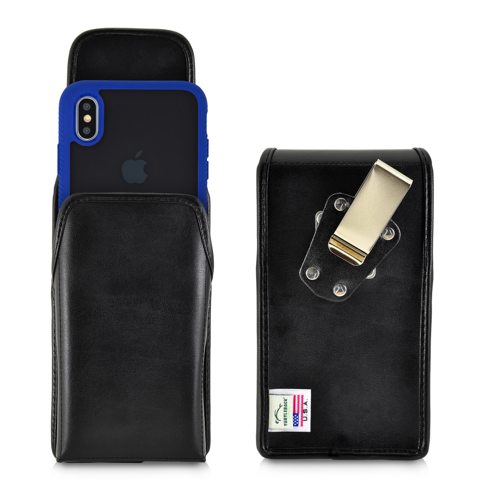 Tough Defense Combo for iPhone XS Max, Blu/Clr Drop Test Case + Vertical Pouch, Metal Clip