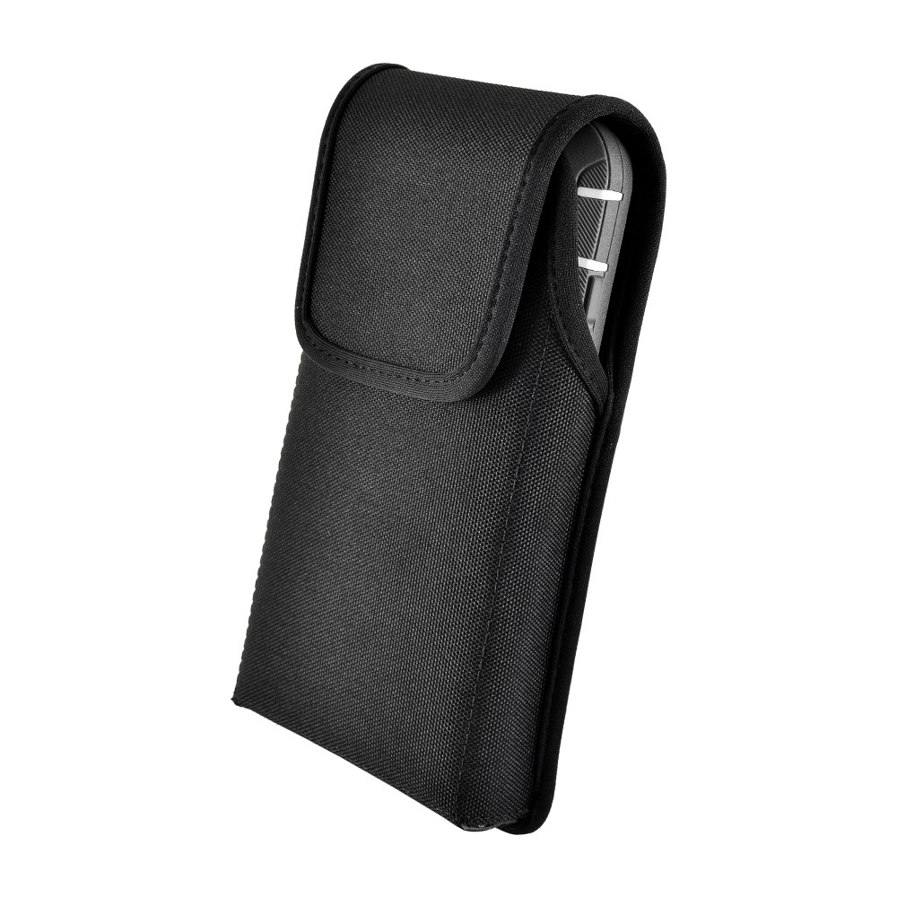 Tough Defense Combo for iPhone XS Max, Blk/Clr Drop Test Case + Ver Nylon Pouch, Metal Clip