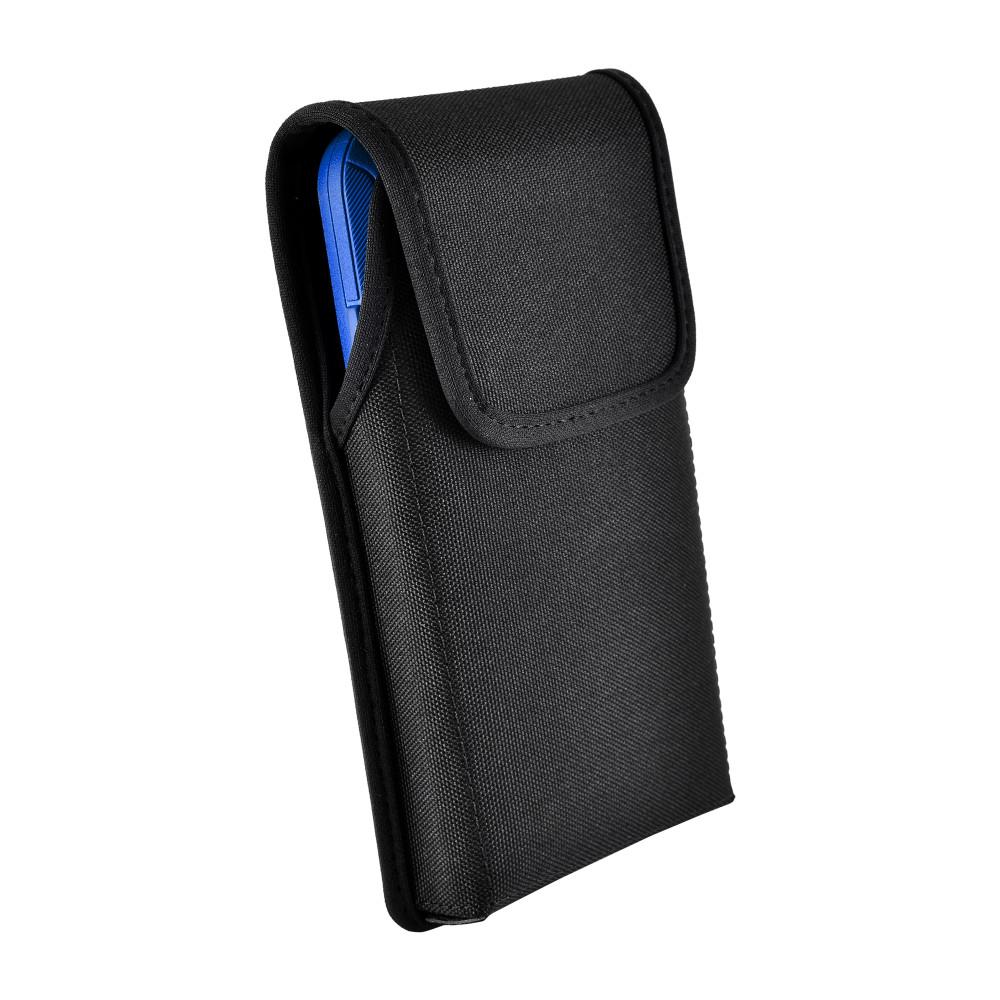 Tough Defense Combo for iPhone XS Max, Blu/Clr Drop Test Case + Ver Nylon Pouch, Metal Clip