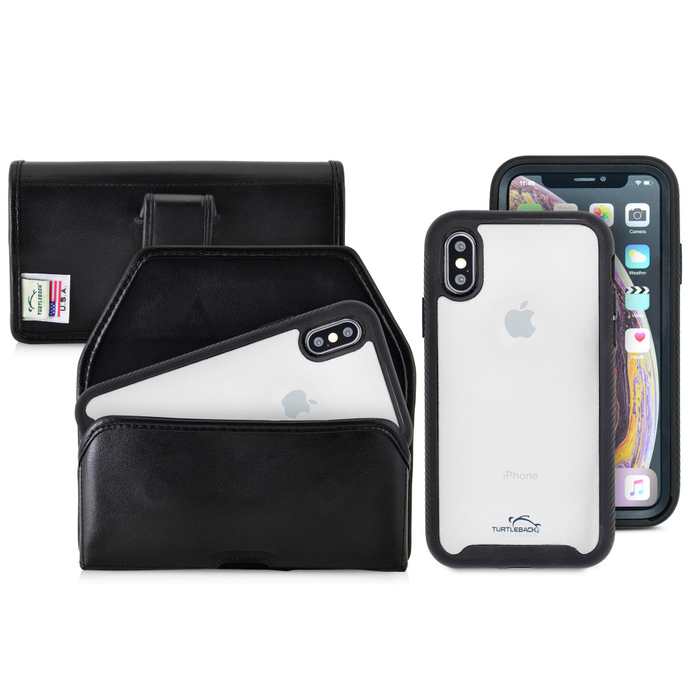 Tough Defense Combo for iPhone X & XS, Blk/Clr Drop Test Case + Horizontal Pouch, Leather Clip