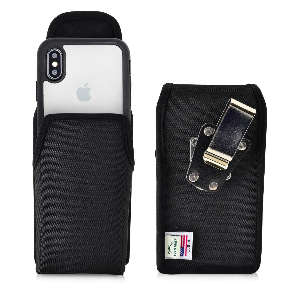 Tough Defense Combo for iPhone X & XS, Blk/Clr Drop Test Case + Ver Nylon Pouch, Metal Clip