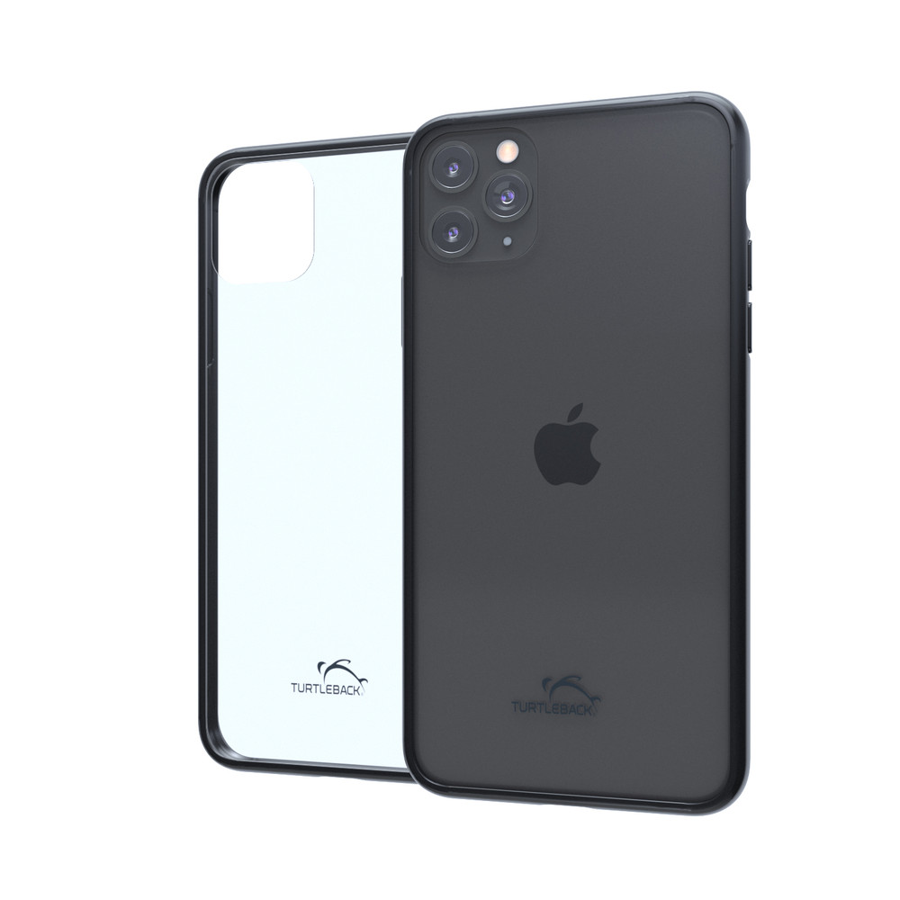 Hybrid Case Combo for iPhone 11 Pro Max, Clear/Black Case + Horizontal Leather Pouch, Metal Clip