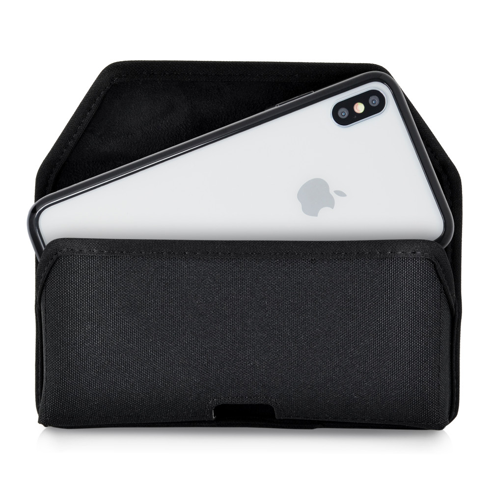 Hybrid Case Combo for iPhone XS Max, Clear/Black Case + Horizontal Nylon Pouch, Metal Clip