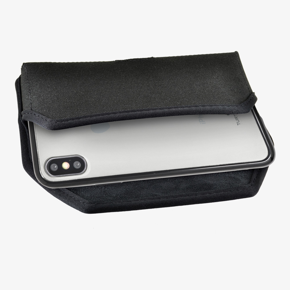 Hybrid Case Combo for iPhone X & XS, Clear/Black Case + Horizontal Nylon Pouch, Metal Clip