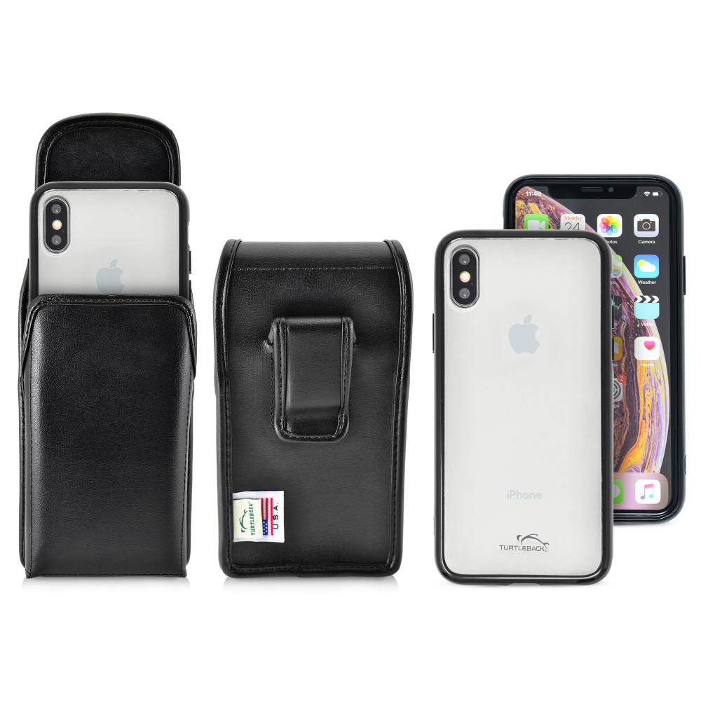 Hybrid Case Combo for iPhone X & XS, Clear/Black Case + Vertical Leather Pouch and Clip