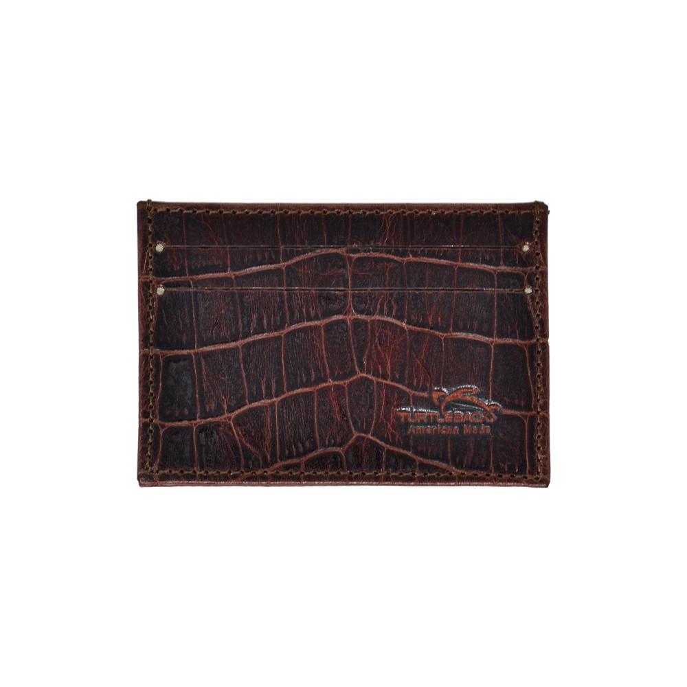 Genuine Leather Front Pocket Wallet Minimalist Alligator Print with RFID Blocking