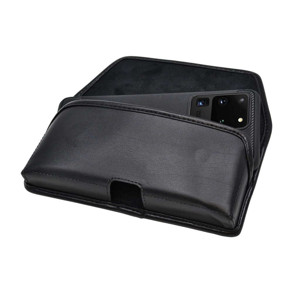Samsung Galaxy S20 Ultra Holster with Belt Clip, Black Leather Horizontal Case