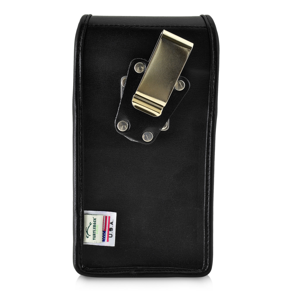 Galaxy S20 S21 Vertical Holster Black Leather Pouch with Rotating Belt Clip