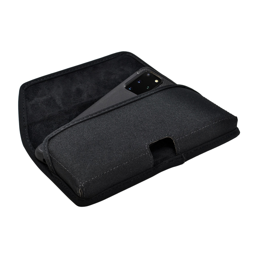 Galaxy S20+ Plus Belt Holster Black Nylon Pouch Rotating Belt Clip Horizontal