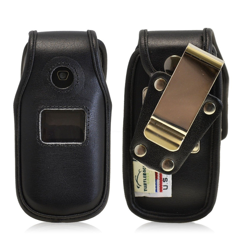 LG 440G Heavy Duty Black Leather Phone Case with Rotating Metal Belt Clip