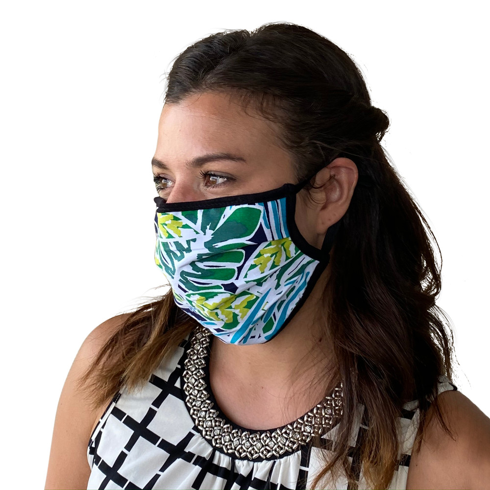 Face Mask in Tropical Print Washable Reusable, Cotton Pocket, 2 Ply, Nose Seal, Adjustable Ear Loops (set of 2)