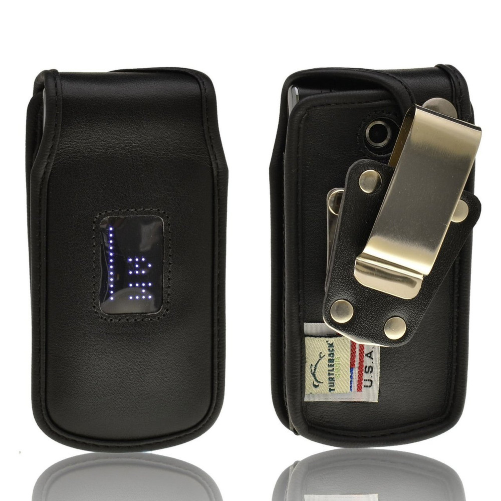 LG Exalt vn360 Heavy Duty Black Leather Phone Case with Rotating Metal Belt Clip