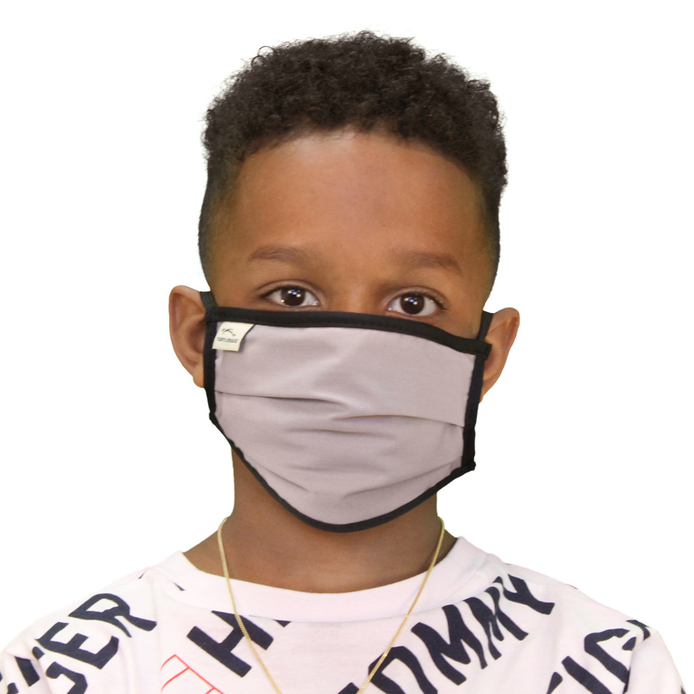 Kid's Face Mask Gray Washable Reusable, Cotton Pocket, 2 Ply, Nose Seal, Adjustable Ear Loops (set of 2)