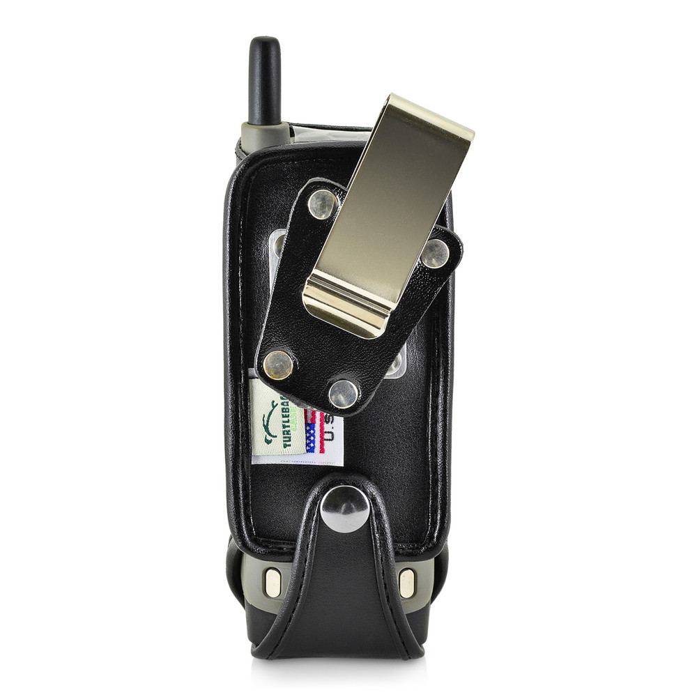 Motorola i365 Black Leather Phone Case with Removable Metal Belt Clip - Bottom Closure