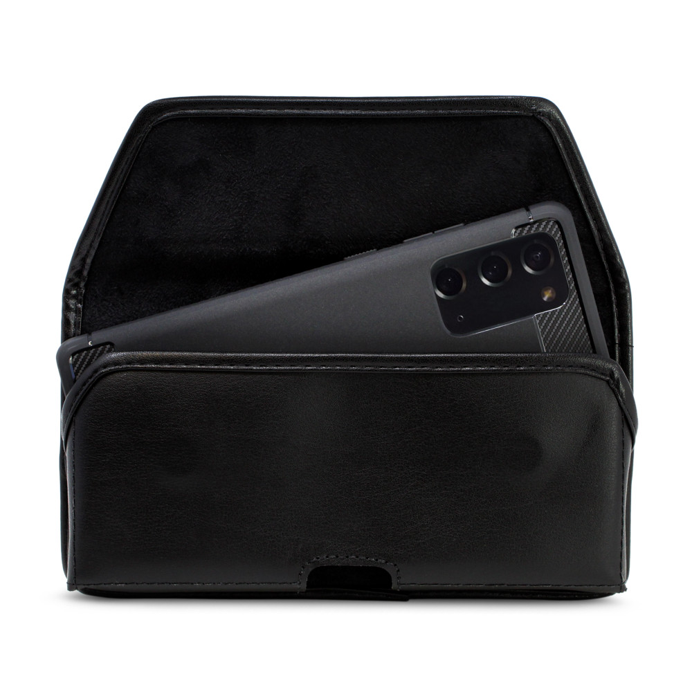 Samsung Galaxy Note 20 5G (2020) Belt Holster Black Leather Pouch with Heavy Duty Rotating Belt Clip, Horizontal