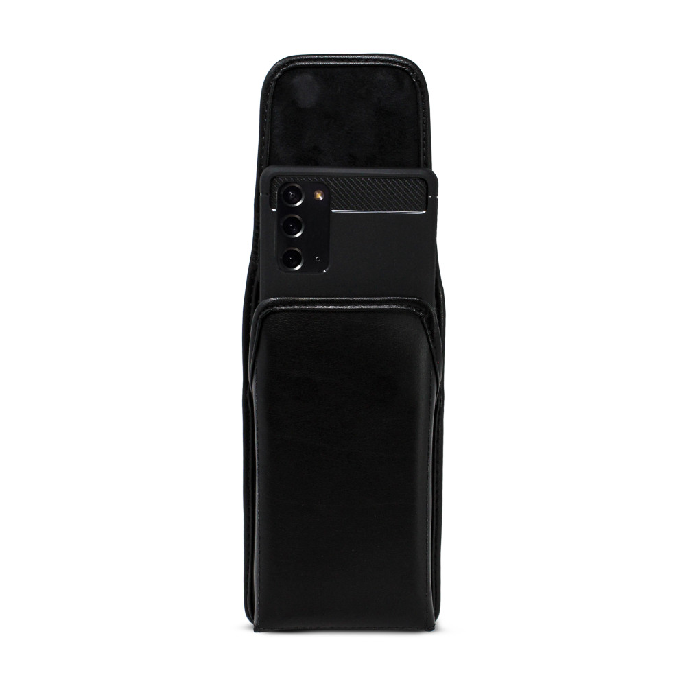 Samsung Galaxy Note 20 5G (2020) Vertical Holster Black Leather Pouch with Heavy Duty Rotating Belt Clip