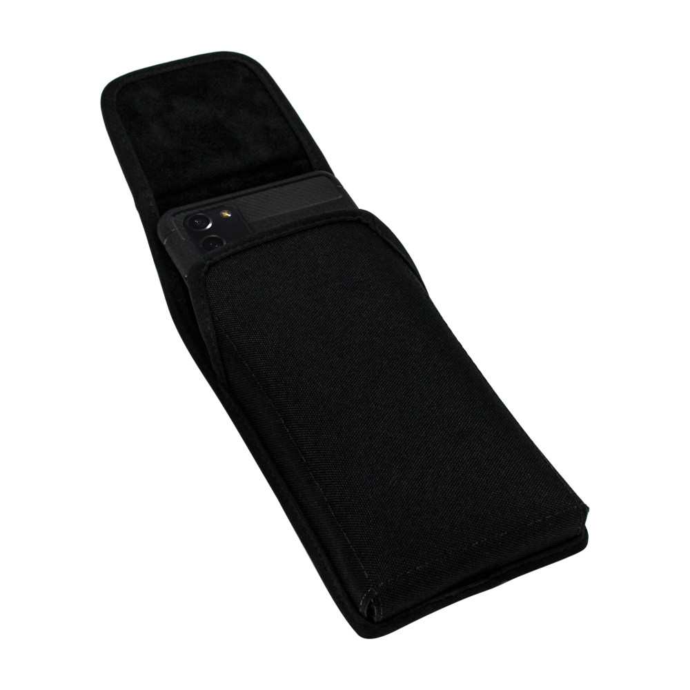 Samsung Galaxy Note 20 5G (2020) Vertical Holster Black Nylon Pouch with Heavy Duty Rotating Belt Clip