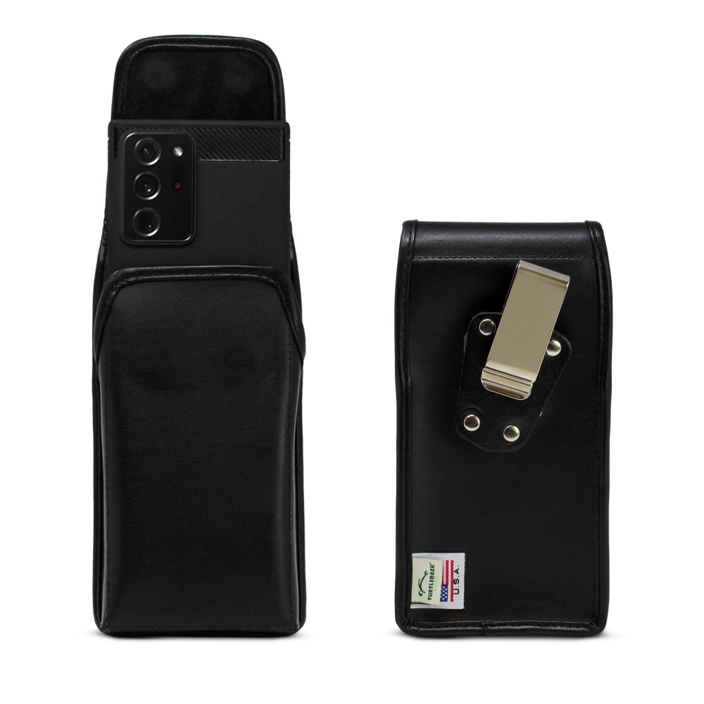 Samsung Galaxy Note 20 Ultra Vertical Holster Black Leather Pouch with Heavy Duty Rotating Belt Clip